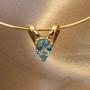 Natural Blue Topaz Necklace Slide Solid 14k Gold